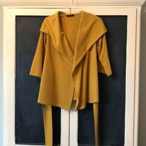 Mustard gold wrap cardigan
